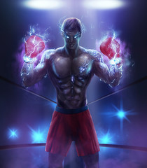 Angry fantasy athlete boxer illustration with lightning effect energy boxing gloves & red shorts.