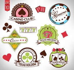 Poker and Casino Labels Set. Vector Illustration
