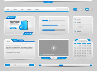 Web UI Controls Elements Gray And Blue On Light Background: Navigation Bar, Buttons, Login Form, Play List, Message Box