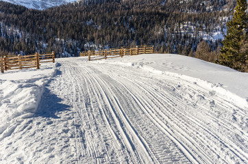 Cross-country Ski Trail in the Alps