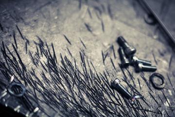 Metal screws detail