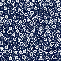 Seamless pattern of christmas texture icons