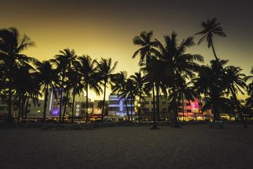 Ocean Drive street with illuminated buildings, South Beach, Miami