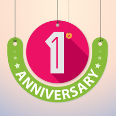 1st Anniversary - Colorful Badge, Paper cut-out
