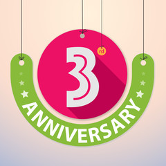 3rd Anniversary - Colorful Badge, Paper cut-out
