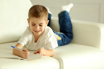 Little boy writing in notebook on a sofa at home