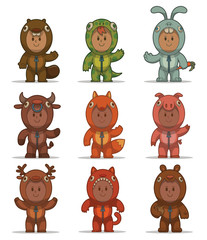 Vector Set of Kids in animals costumes. Cartoon image of nine children in costumes of different animals: beaver, lizard, rabbit, bull, fox, pig, deer, bear and cat on a light background.