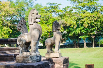 Sculpture in prasat Hin Phimai Historical Park In Thailand