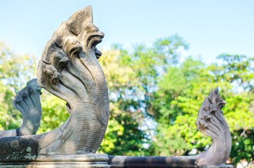 Sculpture serpent in prasat Hin Phimai Historical Park In Thaila