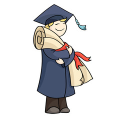 Cartoon graduating man with diploma with red ribbon. Happy cute boy on graduation day in gown and hat holding certificate. Hand-drawn vector illustration isolated on white.