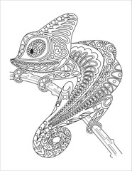 Monochrome chameleon coloring page black over white.