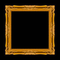 picture frame Wood carved Old isolated on a black background.