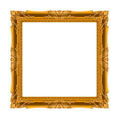 picture frame Wood carved Old isolated on a white background