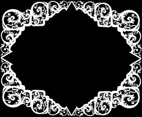 white decorated frame shape ornament