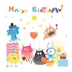 Card to birthday with cute cartoon monster, gifts and sweets. Vector image.