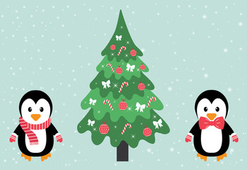 penguin with a scarf and tie and fir-tree