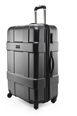 black suitcase plastic half-turned