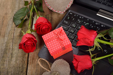 Computer and roses
