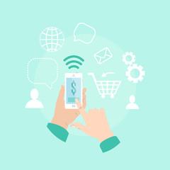 Hands holding smartphone. Internet business, online shop. Buyin online, mobile payment, Vcetor illustration.