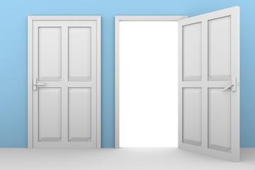 doors blue wall