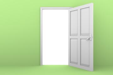 open door green wall
