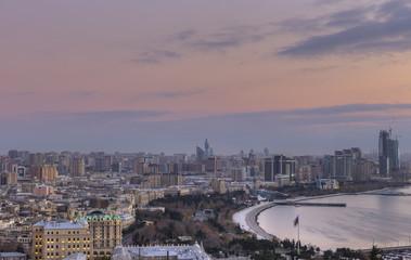 Panorama Baku at sunrise.Azerbaijan