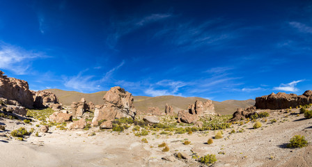 Rock formations with shape of a camel with blue sky, Bolivia