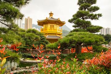 Beautiful Golden Pagoda Chinese style architecture in Nan Lian G