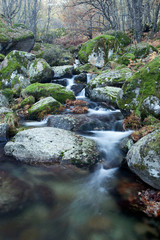 Beautiful river and big rocks with moss