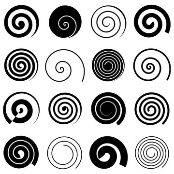 Set of simple spirals, isolated vector graphic elements