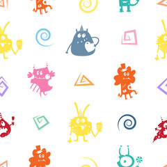 Vector seamless pattern with monsters on white  background.