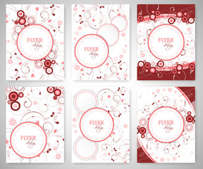 Set of business flyer template or corporate banner with floral pattern and round text box.