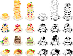 The icons of various pancakes