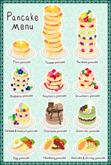 The postcard of various pancakes