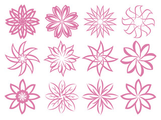 Abstract Flora Patterns Isolated Design Elements