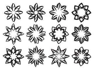 Creative Black and White Floral Design Element