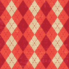 Scratched red and orange argyle pattern inspired vector backrgound