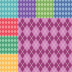 Vector argyle seamless pattern in eight different colors. Easy editable.
