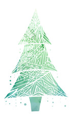Card with doodle Christmas tree and green watercolor background