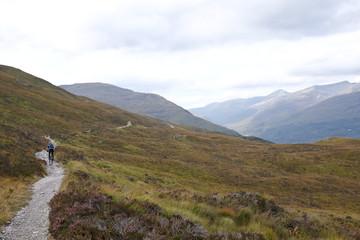 Rear view of man mountain biking, Highlands, Scotland