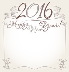handwritten 2016 and Happy New Year words greeting. vector