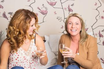 Freundinnen beim Anstoßen mit Wein
