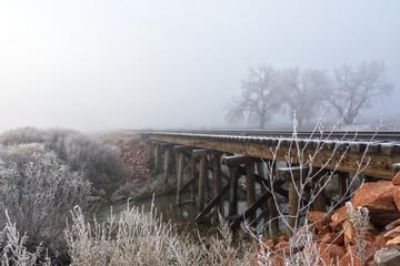 Frost covered railway tracks, Colorado, America, USA