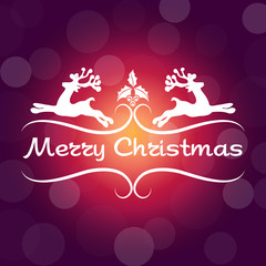 Merry Christmas poster with bokeh pattern and message in creative style on Purple tone