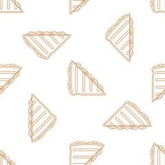 club sandwich outline seamless pattern.