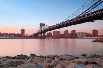 View of Manhattan bridge with cityscape