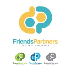 Social Team Work, Partner, Friends, Letter P Design Logo Vector