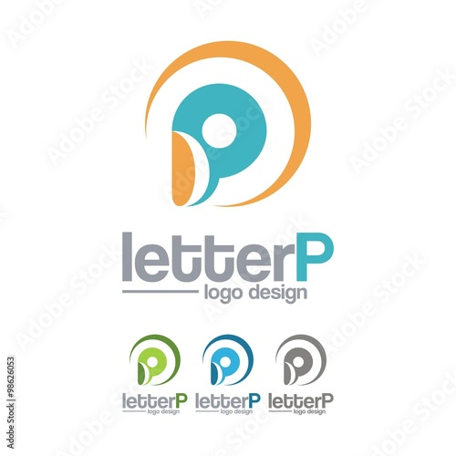 Letter P Life Abstract People Circle Design Logo Vector Stock