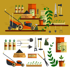 Gardening tools illustration. Vector icon set flat design. Work in garden concept. Lawn mower, soil, tools