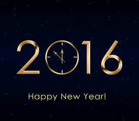 2016 Happy New Year background with gold clock